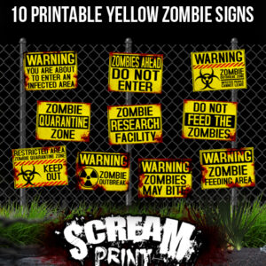 10 Printable Yellow Zombie Signs