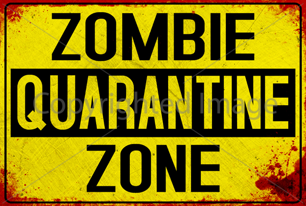 graphic regarding Quarantine Sign Printable titled 10 Printable Yellow Zombie Indications - Down load - Print - Embellish