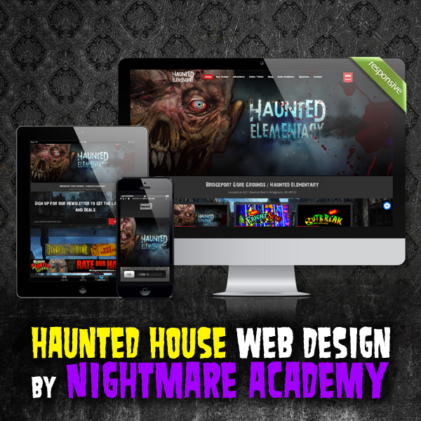 Haunted House Website Design by Nightmare Academy Web Design