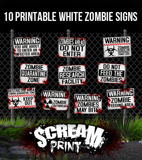 picture regarding Quarantine Sign Printable titled 10 Printable White Zombie Indications - Obtain - Print - Enhance