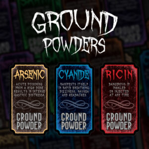6 Custom Ground Powders Labels | Print in Full Color on Sticker Paper
