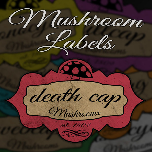 6 Custom Mushroom Labels | Print in Full Color on Sticker Paper