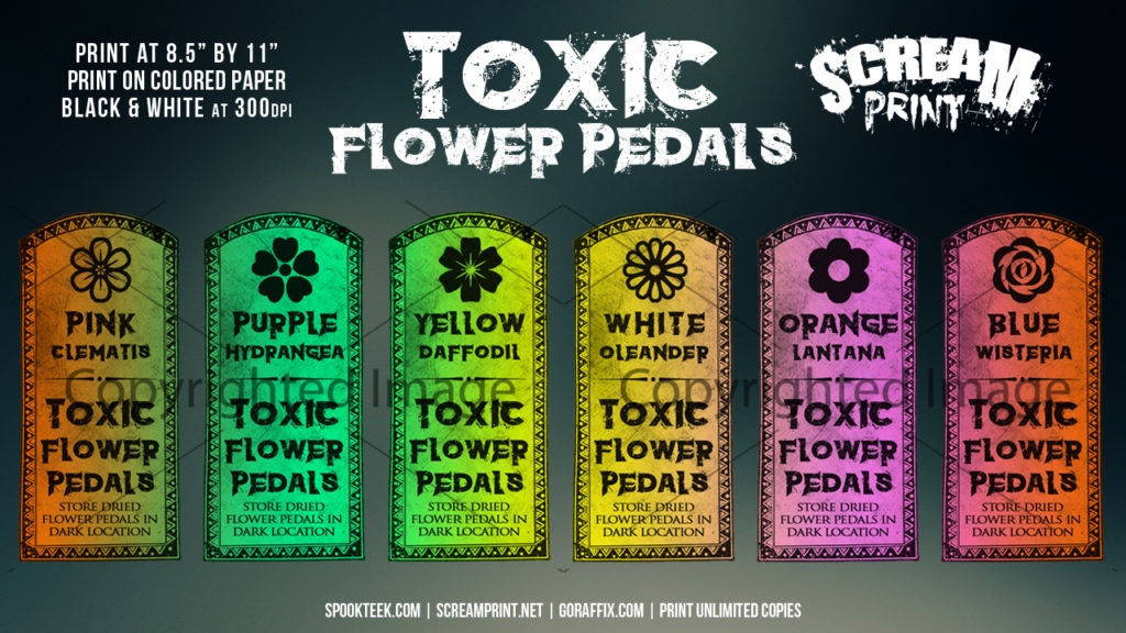 6 Custom Toxic Flower Pedals Labels | Print in Full Color on Sticker Paper